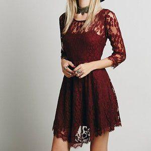 Free People Floral Mesh Lace Dress purple size 2